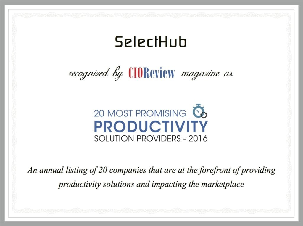 SelectHub Business Productivity Award - CIOReview