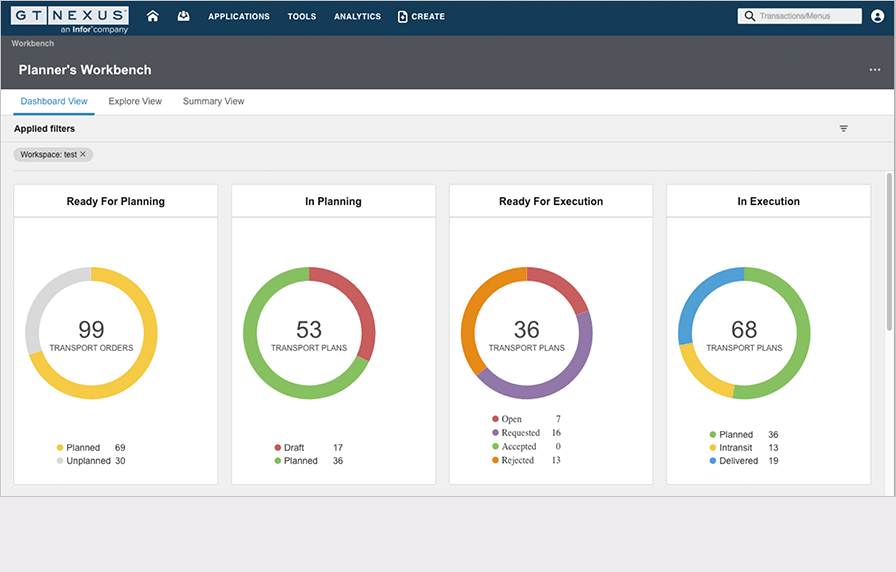 A screenshot of Infor's Transportation Management tools