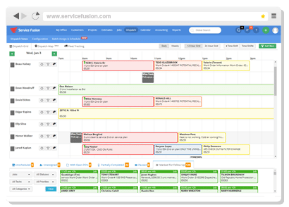 Screenshot of ServiceFusion's Scheduling interface