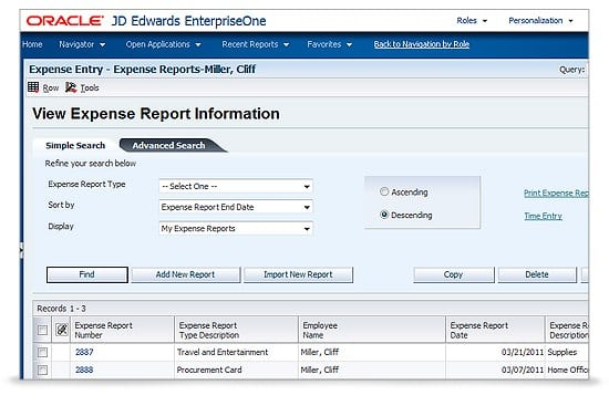 Oracle Expense Report