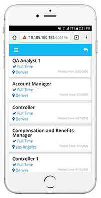 Epicor ERP HR Mobile app screenshot