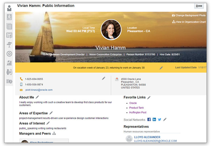 Oracle HRM Employee Info