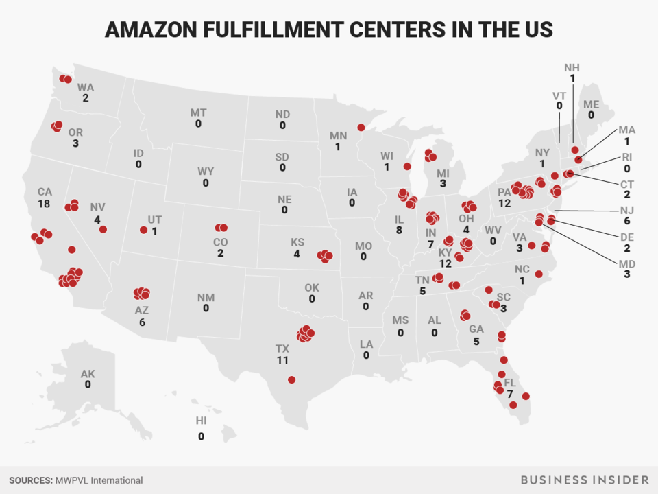 Amazon Fulfillment Centers in the US Business Insider