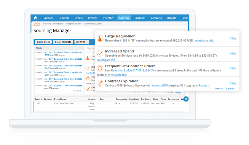 Coupa sourcing manager interface procurement