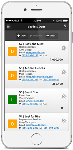 Mothernode's Mobile CRM Interface
