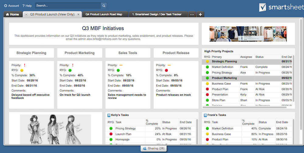 Smartsheet project management screenshot
