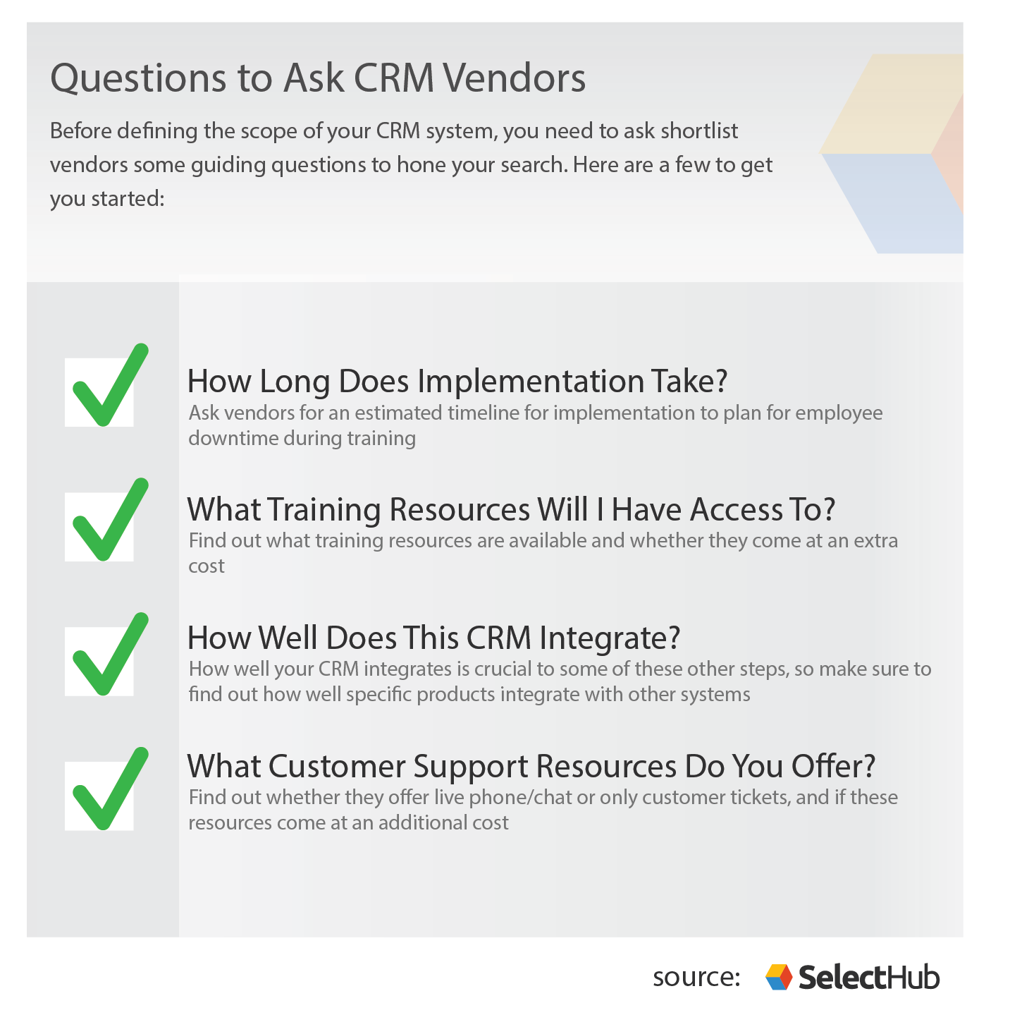 Questions for CRM Vendors