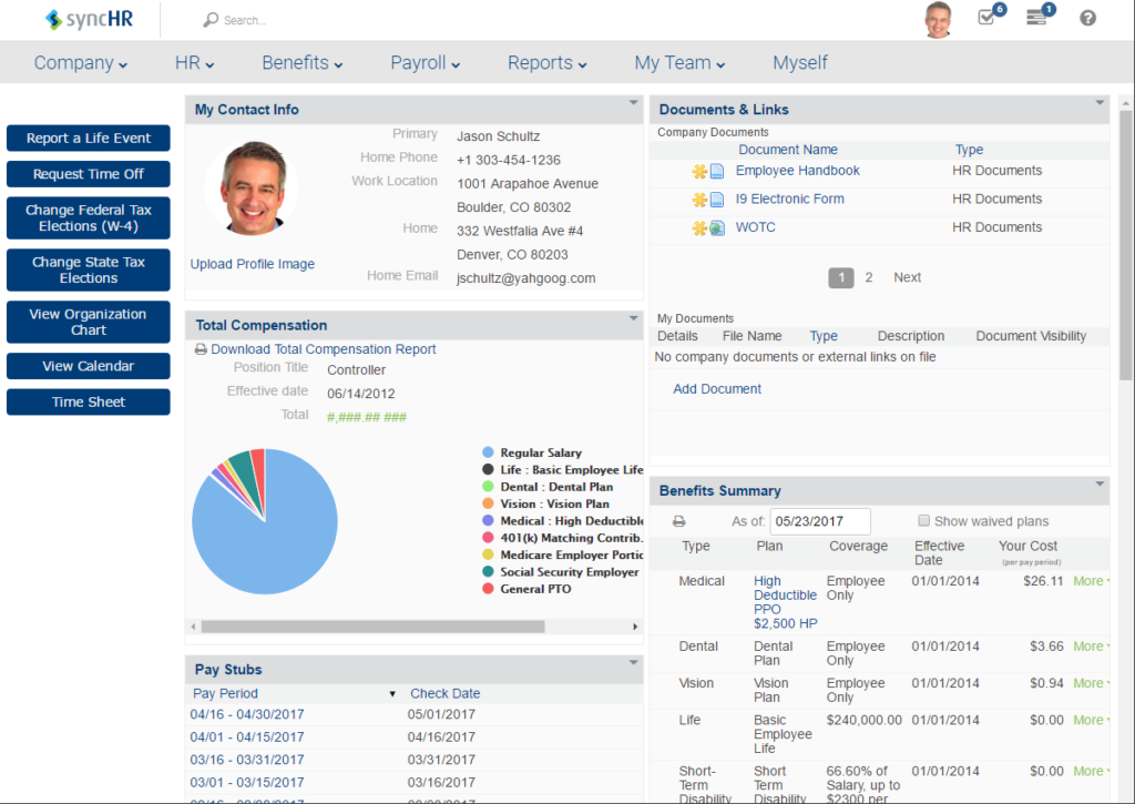 SyncHR Employee Info View