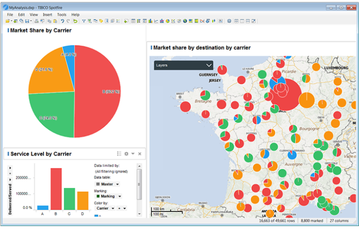 A program running that shows various pie-charts taking shape across a map; meant to visualize data in a meaningful way