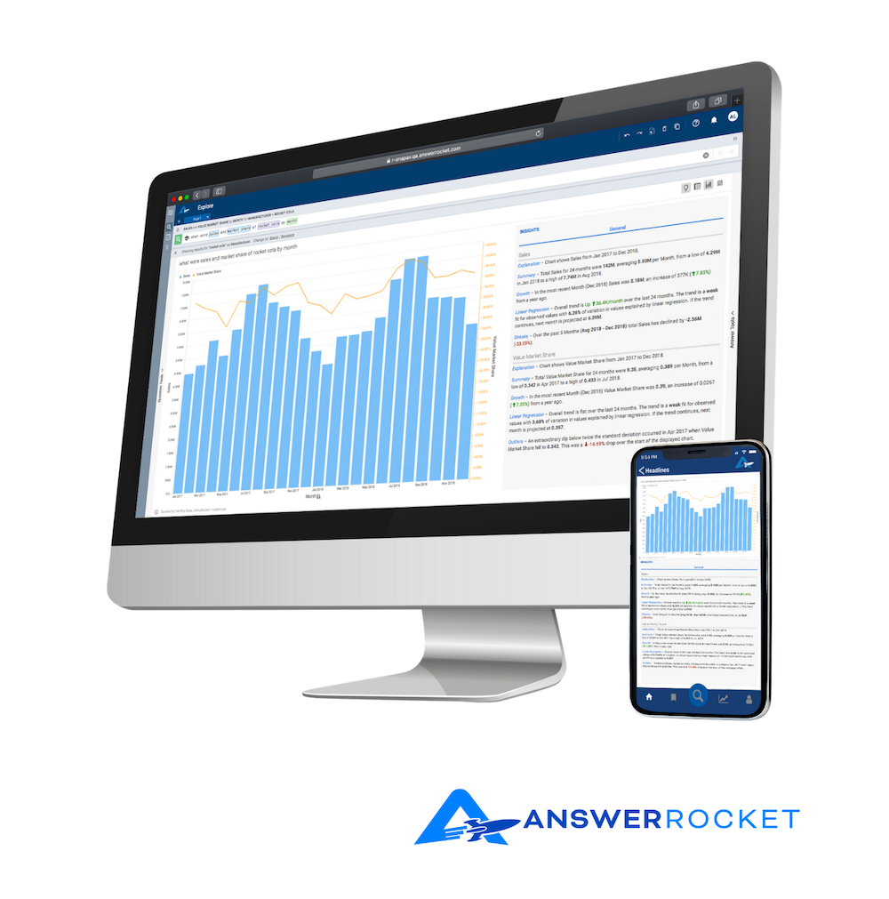 An image that shows us the AnswerRocket interface on both desktop and mobile.