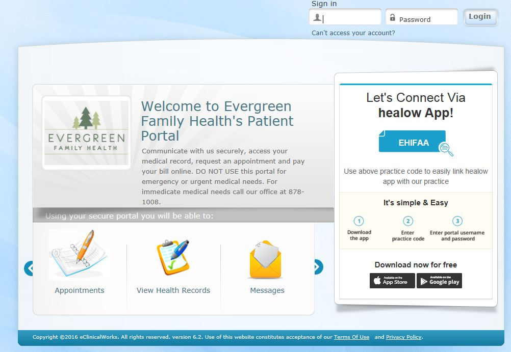 Evergreen Family Health's Patient Portal